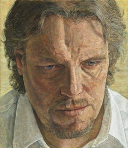 'Andrew looking down' Egg tempera 35.6 x 31.1 cm by Antony Williams